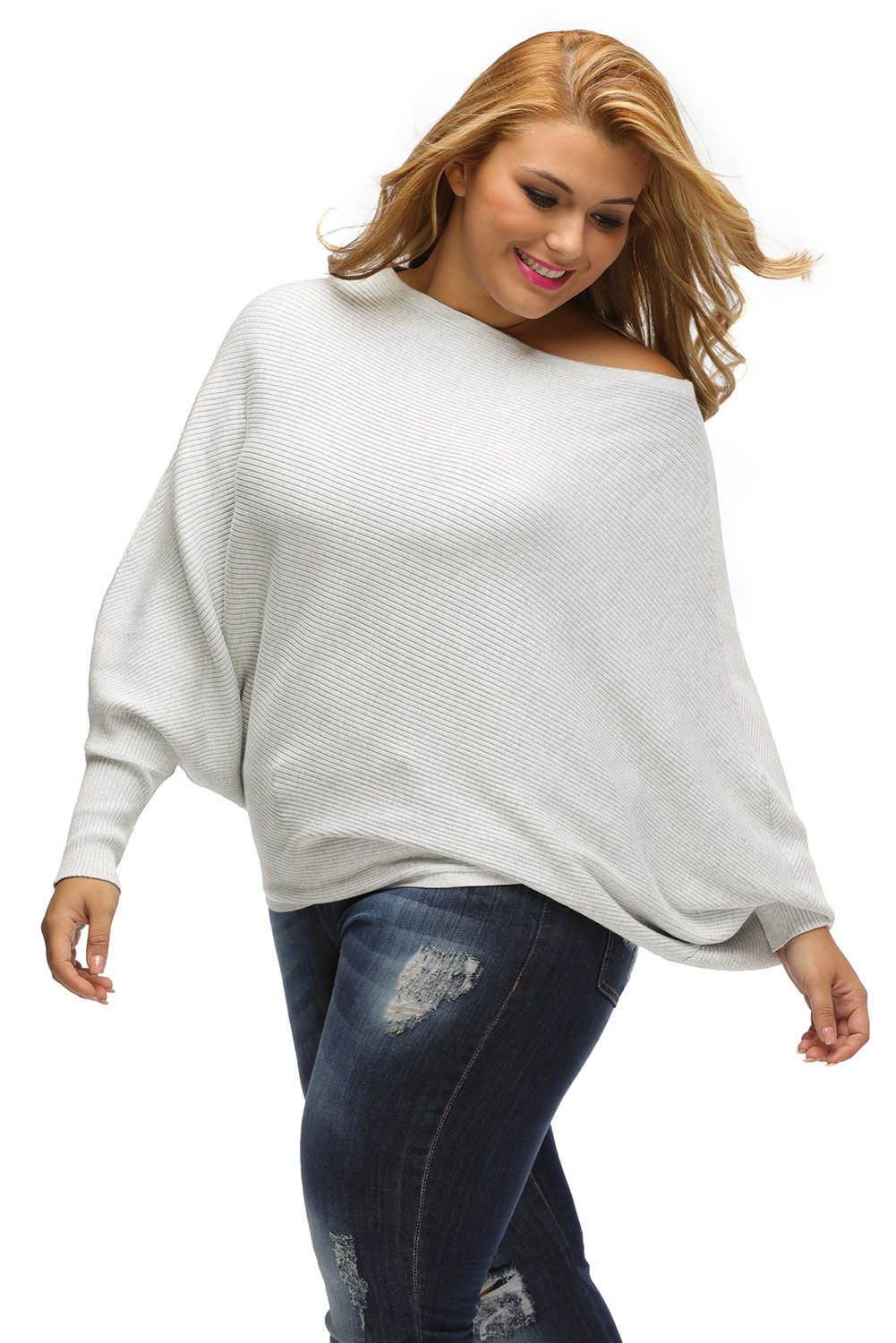 Off shoulder bat long sleeves loose fit sweater womens fall winter ... 1f59a6622