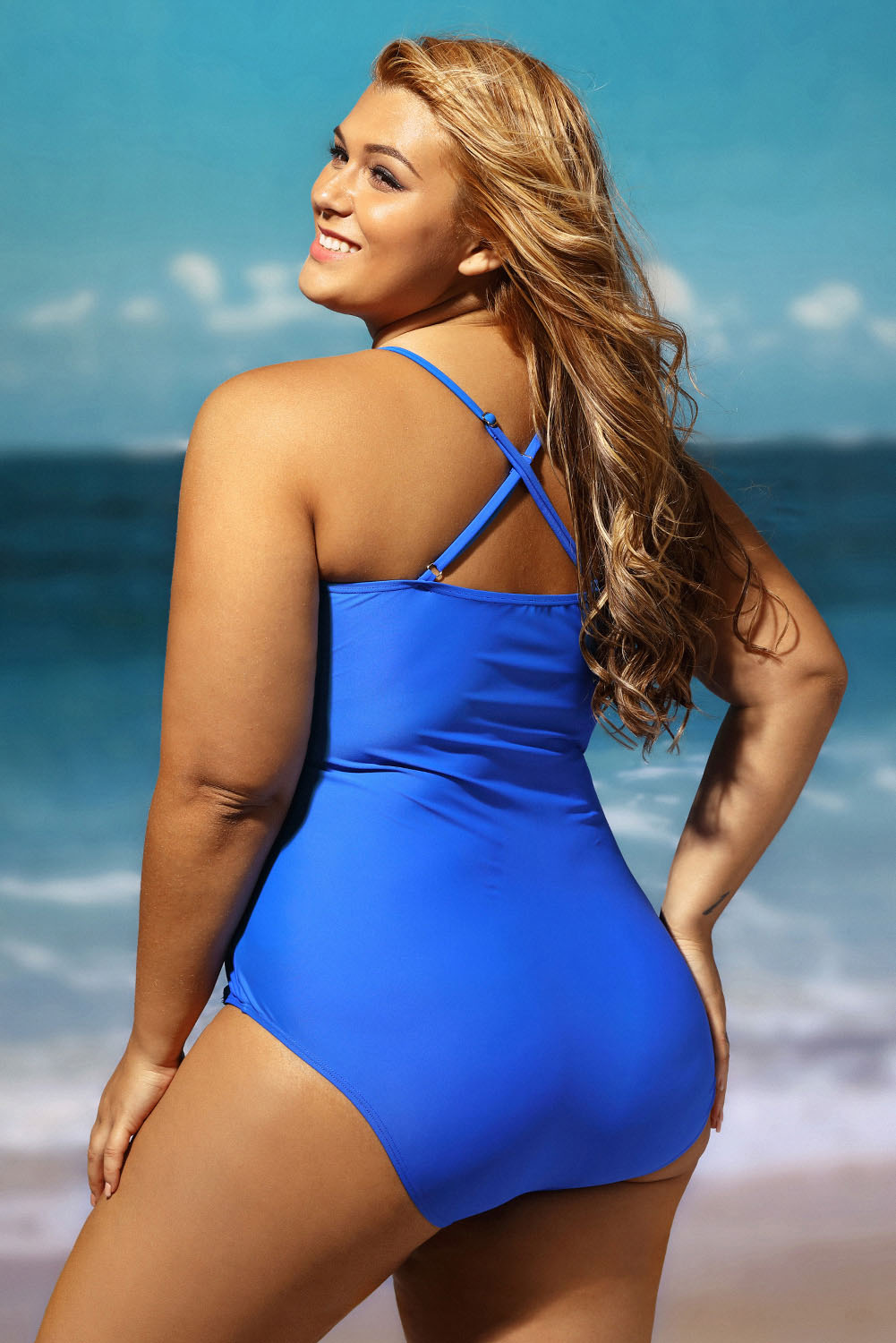 fb10fb112f7 Women Plus Size Cut Out One-piece Swimsuit Summer Brief Sexy Beach ...
