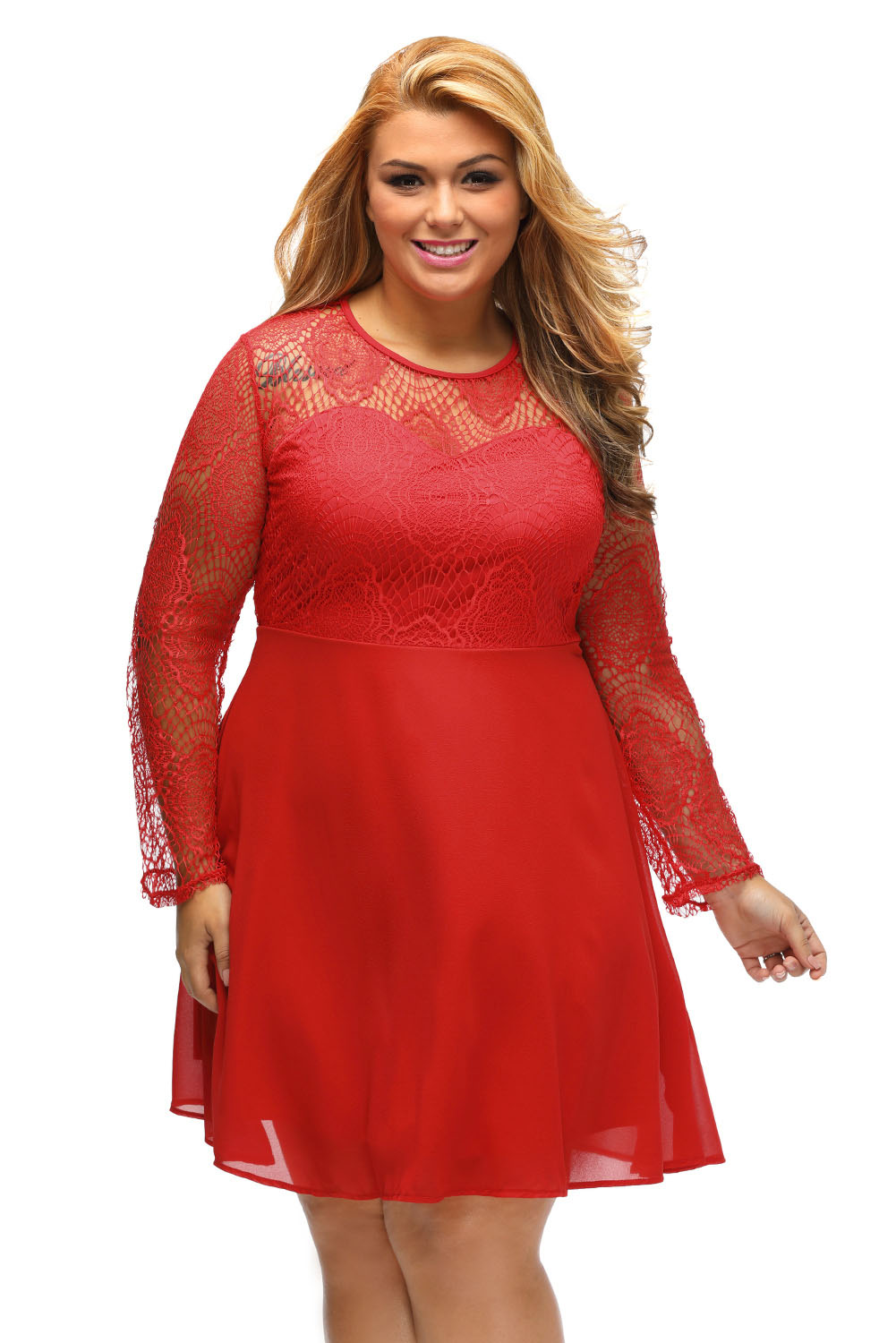 Boohoo Plus Size Lace Top Skater Dress Little Black Long Sleeve