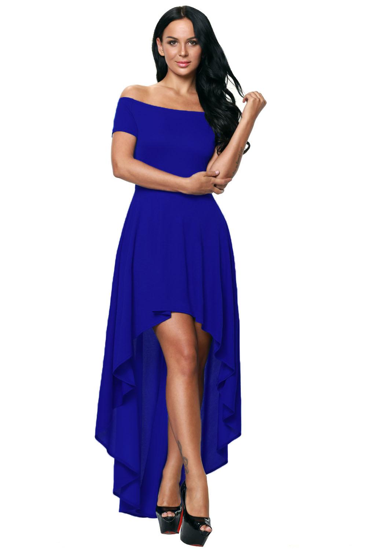 Blue High Low Hem Off Shoulder Party Dress Evening Dance Wear Women ...