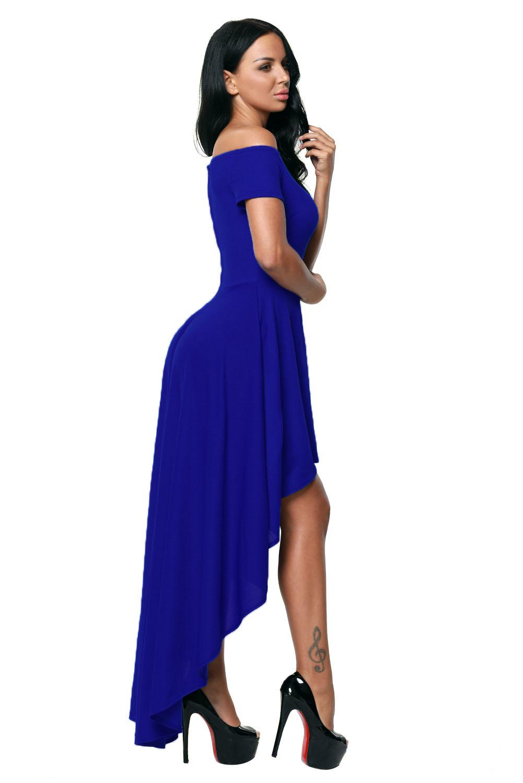 1248c1903 Vestido de fiesta azul con bajo dobladillo elegante ceremonia formal ...