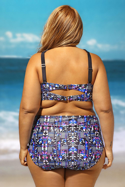 ad85e71651a4b Bright strappy high neck printed 2pcs plus size swimsuit swimming ...