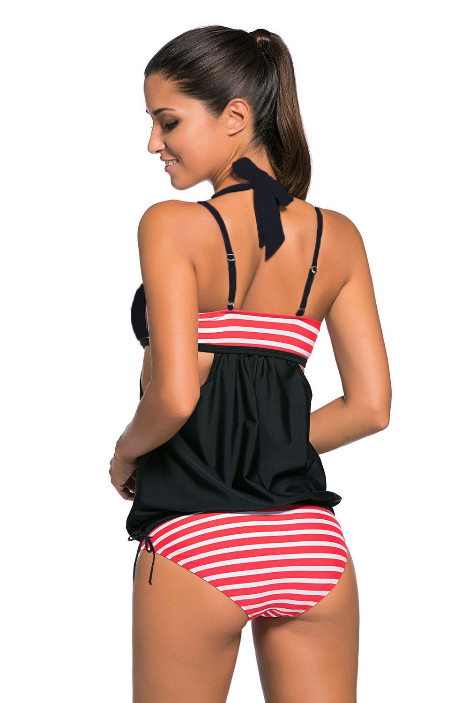 4e0aacc1043d9 Stripes splice tankini swimsuit summer womens swimwear sets sexy ...