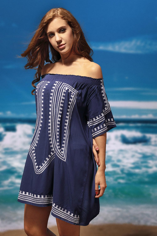 revisa 15b21 67bf4 Detalles de Vestido de playa bohemio con estampado geométrico en el hombro  ropa verano mujer