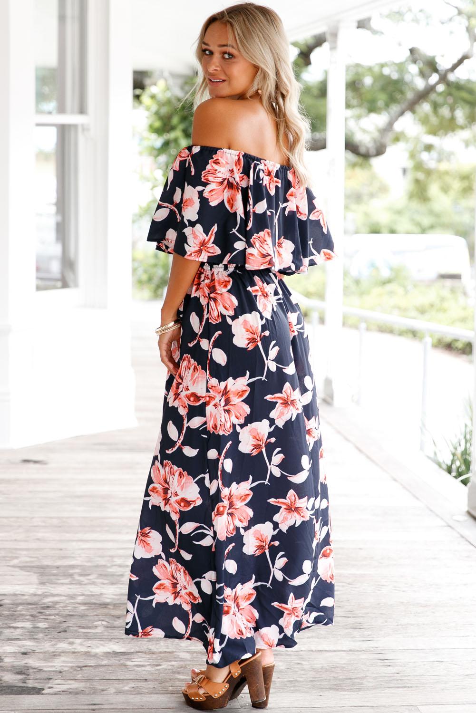 41f5ff5a674 Navy Blue Boho Vibe Floral Print Off Shoulder Maxi Dress Chiffon ...
