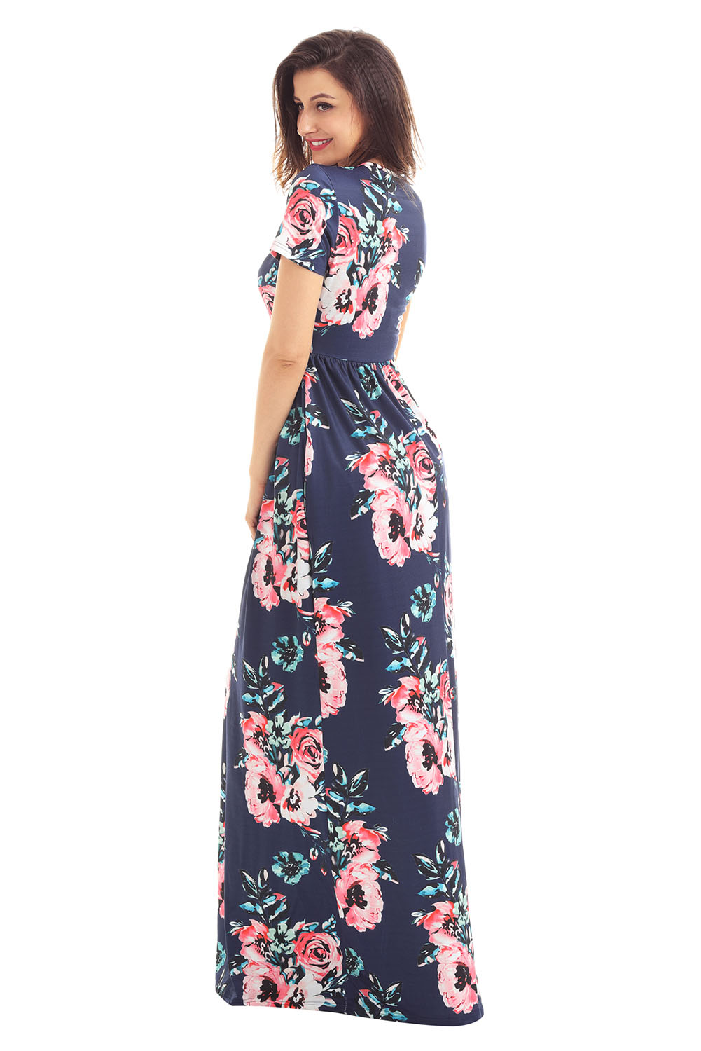 Pocket Design Short Sleeve Floral Maxi Dress Stage Dance
