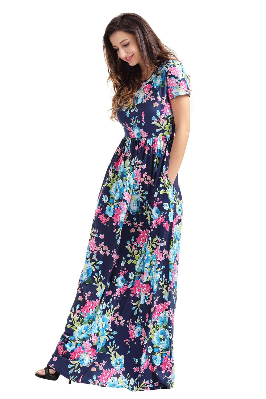 e1b886a1066 Short Sleeve Floral Maxi Dress With Pockets - Gomes Weine AG