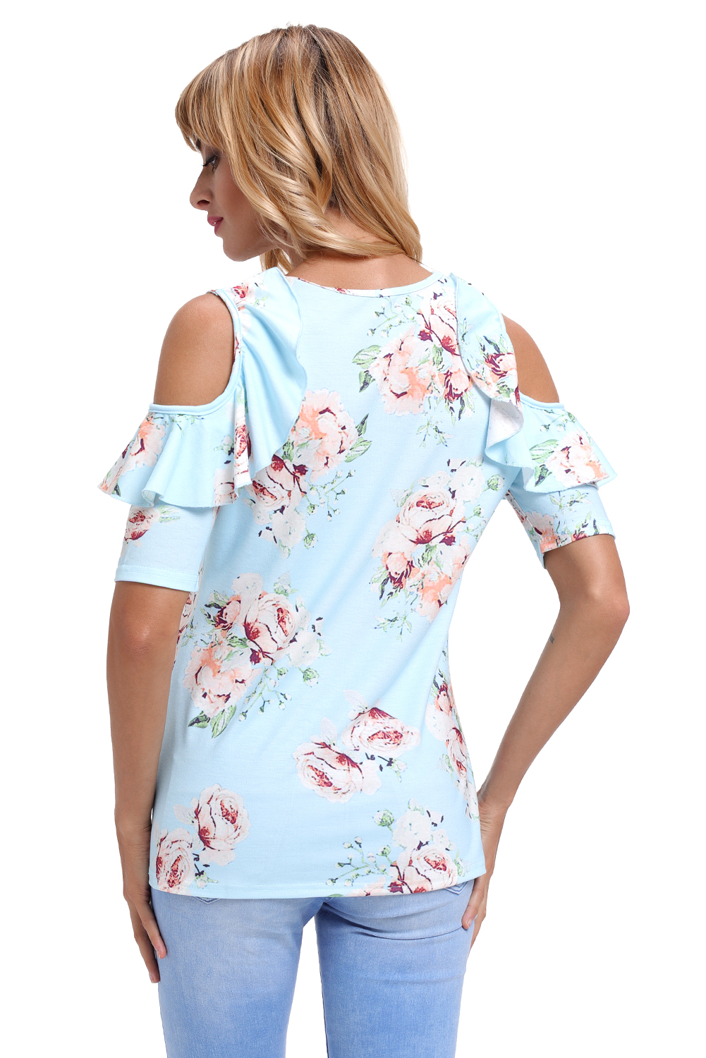 5ff7f6fb1ba Light blue floral cold shoulder top with ruffle sleeve womens shirt ...