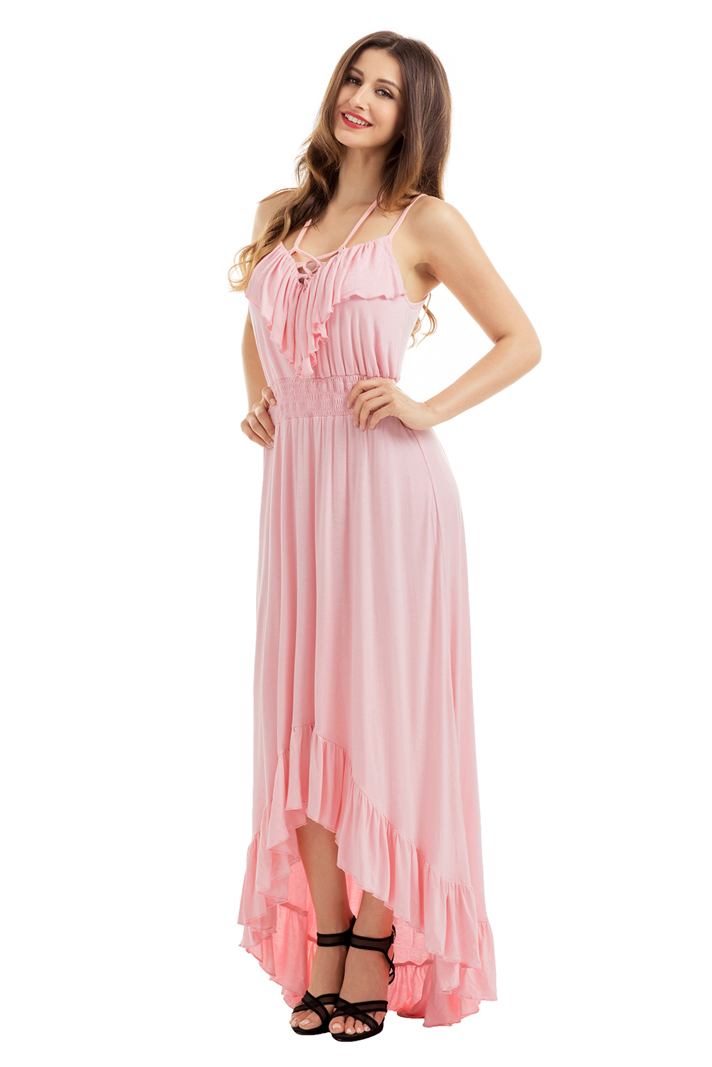 Lace-up-v-neck-ruffle-hi-low-maxi-  sc 1 st  eBay & Lace up v neck ruffle hi-low maxi dress high low cocktail evening ...