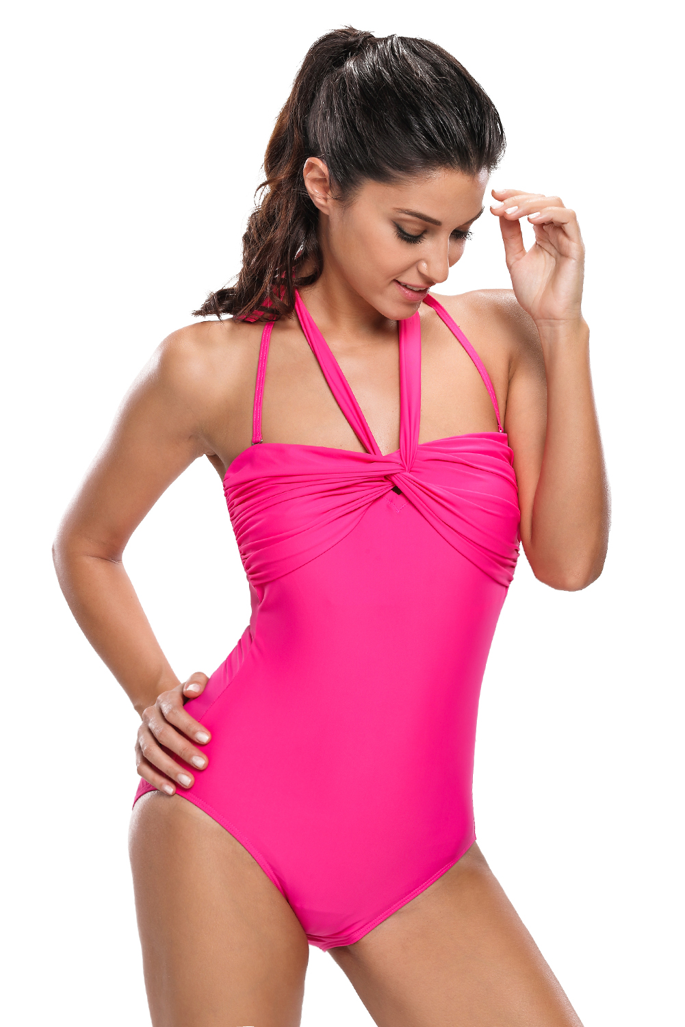4af54f3ea6233 Double halterneck ruched one piece swimsuit swimming pool women ...
