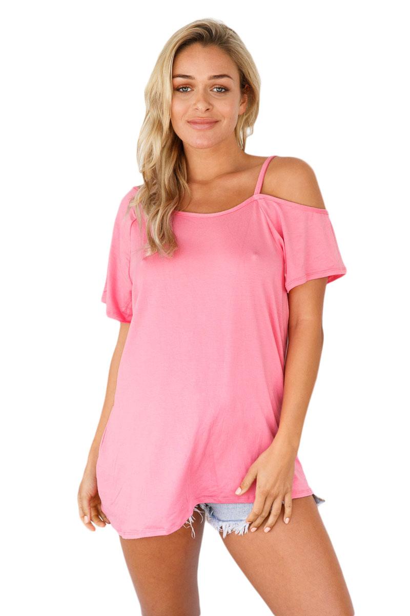 Weiss-kalt-schulter-kurzarm-loose-fit-tops-bluse-shirt-damen