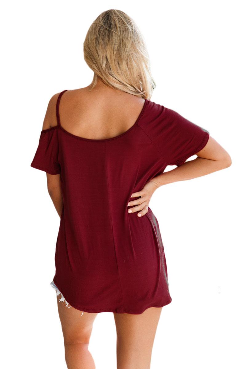 071016d60e6401 Cold shoulder short sleeve loose fit tops womens shirt summer ...