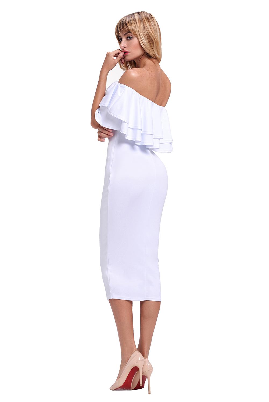 Layered ruffle off shoulder midi dress casual dance women summer ... a982a14d1