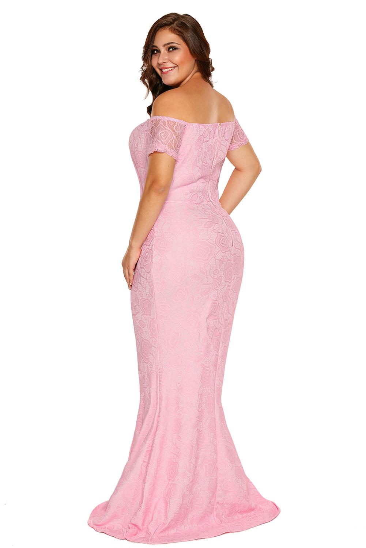 Vestido-largo-de-noche-fiesta-encaje-tallas-grandes-hombros-descubiertos-mujer miniatura 7