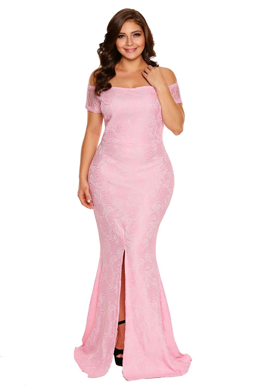 Vestido-largo-de-noche-fiesta-encaje-tallas-grandes-hombros-descubiertos-mujer miniatura 9