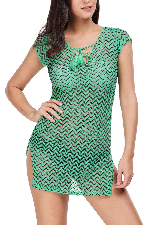 Vestido-de-playa-encaje-con-cuello-en-v-verde-ropa-verano-mujer