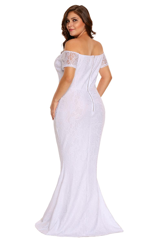 Vestido-largo-de-noche-fiesta-encaje-tallas-grandes-hombros-descubiertos-mujer miniatura 3