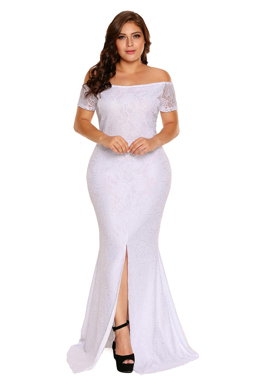 Vestido-largo-de-noche-fiesta-encaje-tallas-grandes-hombros-descubiertos-mujer miniatura 5