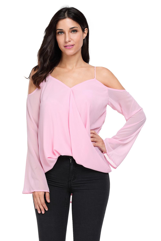 Weiss-cold-shoulder-overlap-v-ausschnitt-langarm-oberteil-bluse-shirt-damen