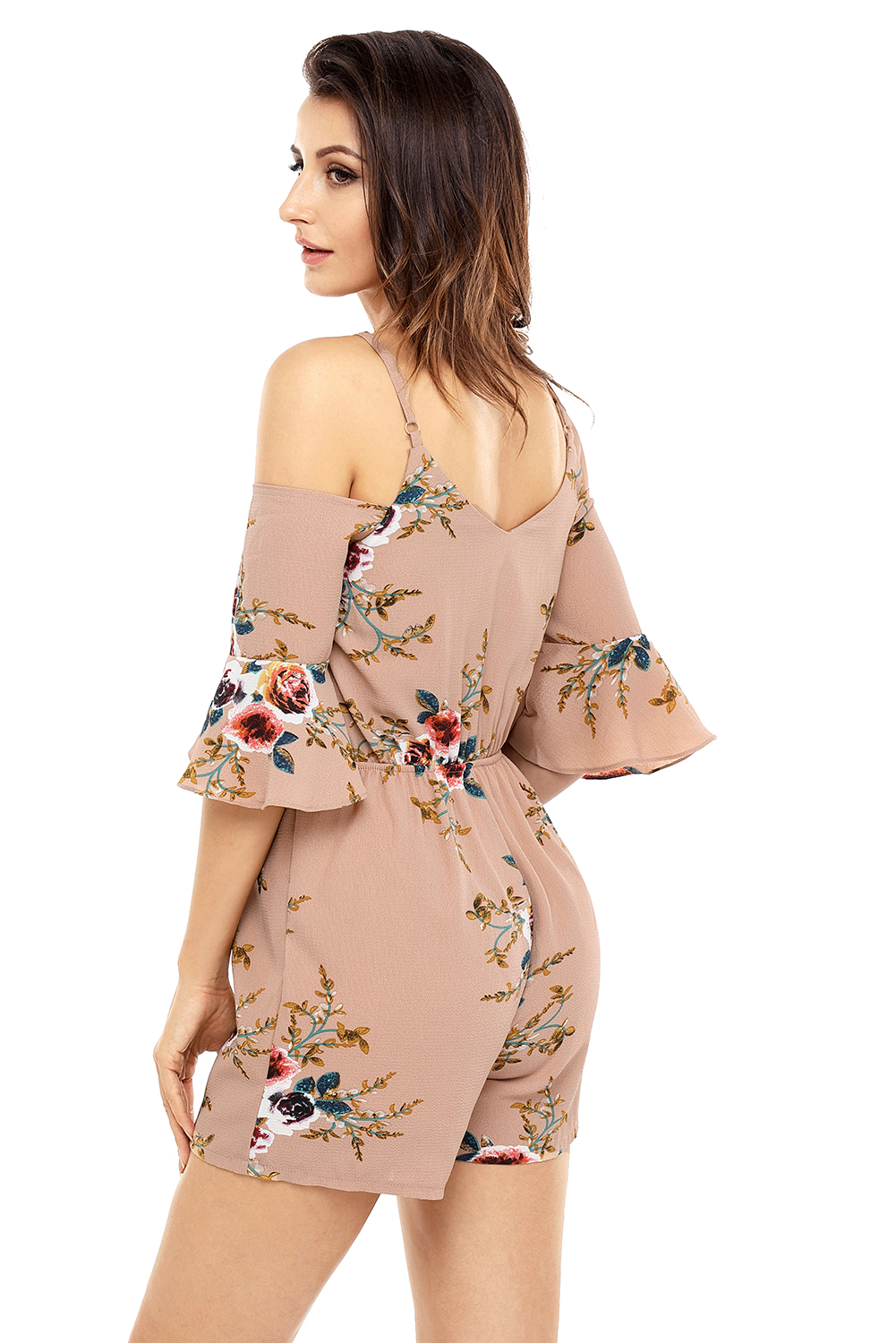 9c79aee312c Apricot multi floral ruffle wrap cold shoulder playsuit women high ...