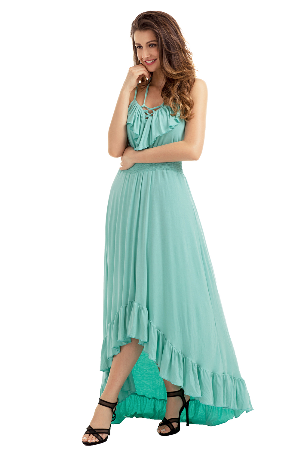 b08aaa364375 Lace up v neck ruffle hi-low maxi dress high low cocktail evening ...