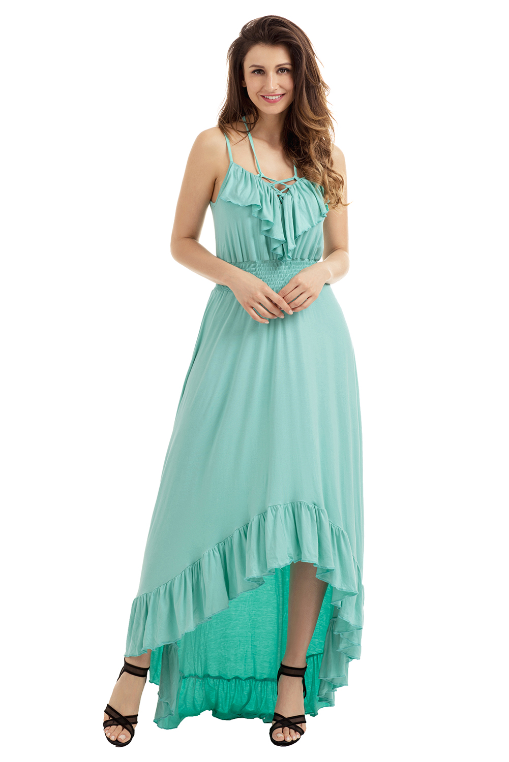 Lace up v neck ruffle hi-low maxi dress high low cocktail evening ...