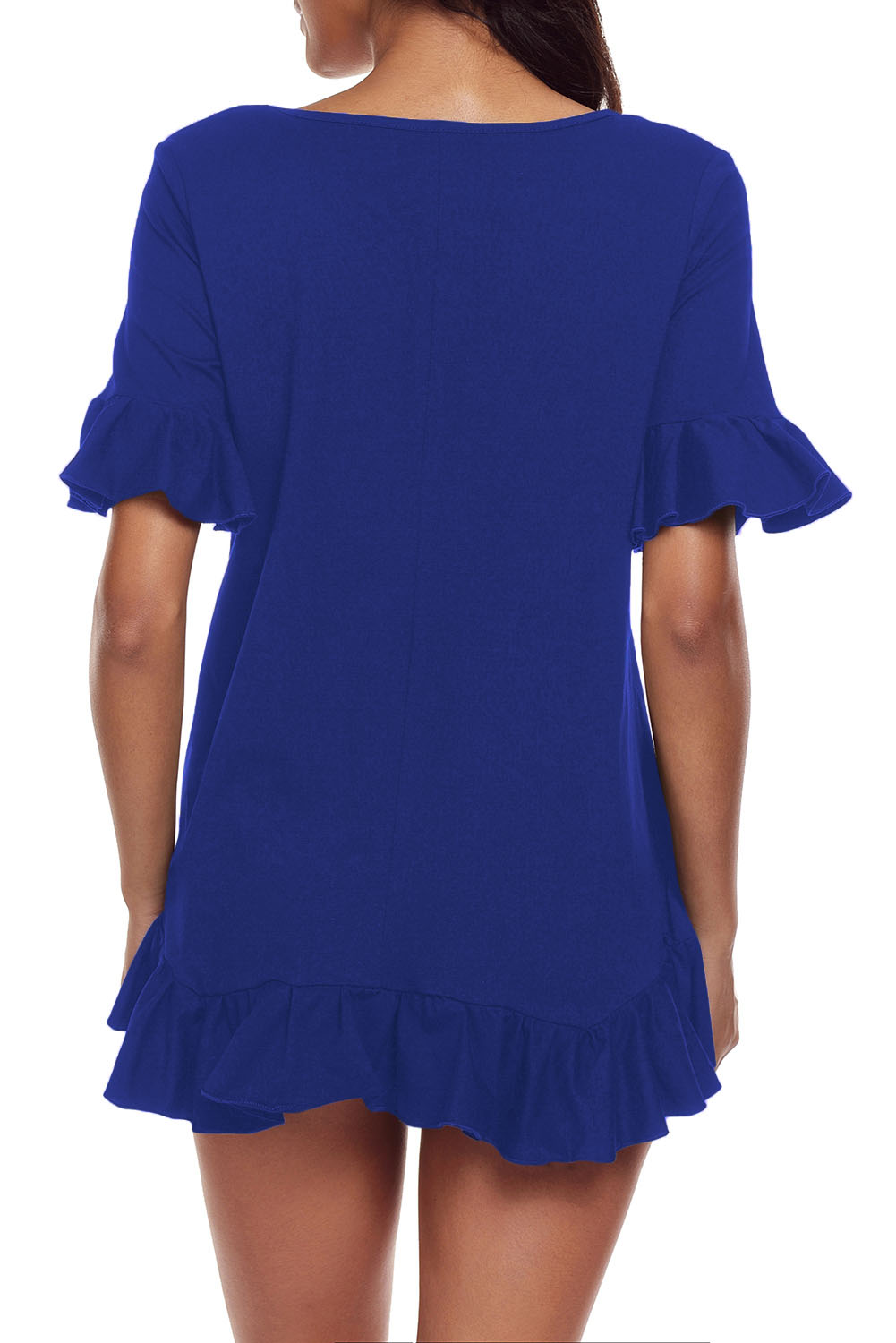 Royal-blue-rueschenbesatz-kurzarm-flowy-top-bluse-shirt-tunika-kleid-damen