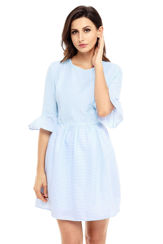 Vestido-camisa-de-seersucker-de-manga-larga-con-volantes-de-rayas-blancas-mujer