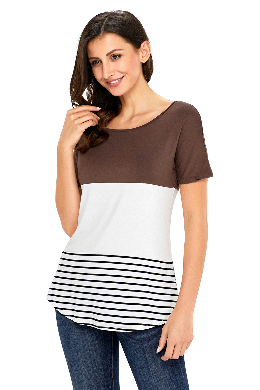 Brauner-farbblock-gestreiftes-lange-top-bluse-shirt-damen