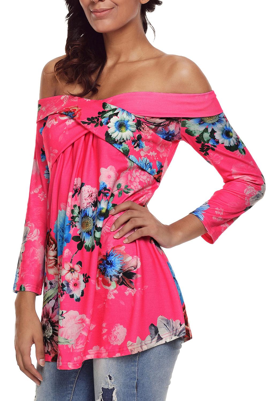 Rosa-blumen-schulterfrei-kreuzmuster-top-bluse-shirt-damen