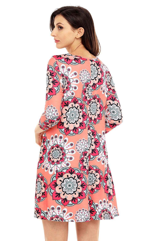 5981a11ca903 Bohemian Sunflower Print Dress Stage Dance Wear Women Brief Sexy ...