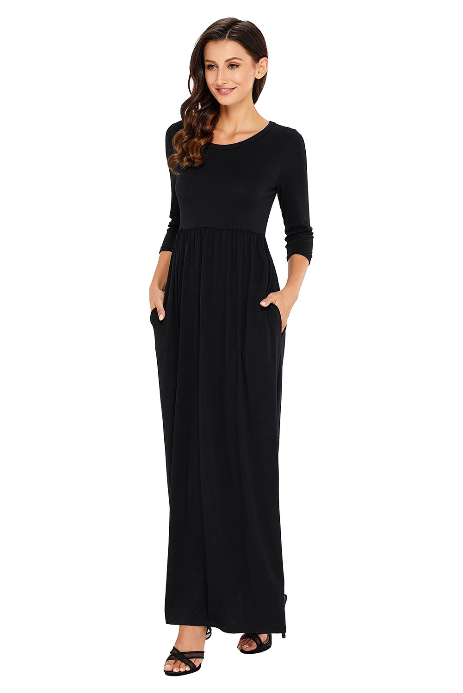 fed4569b16c15 Casual Black Maxi Dress With Sleeves - raveitsafe