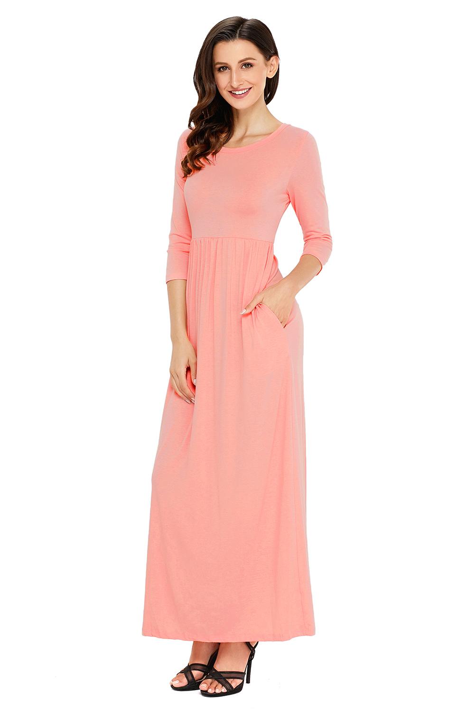 a211746fdf Pocket design 3/4 sleeves maxi dress empire casual high waist women ...