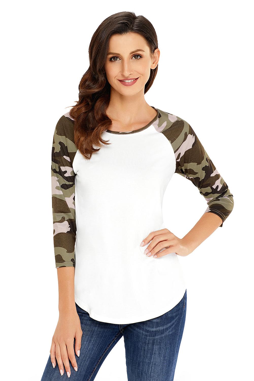 dcd18e948e2 Raglan sleeve top womens shirt brief patchwork color block o-neck ...