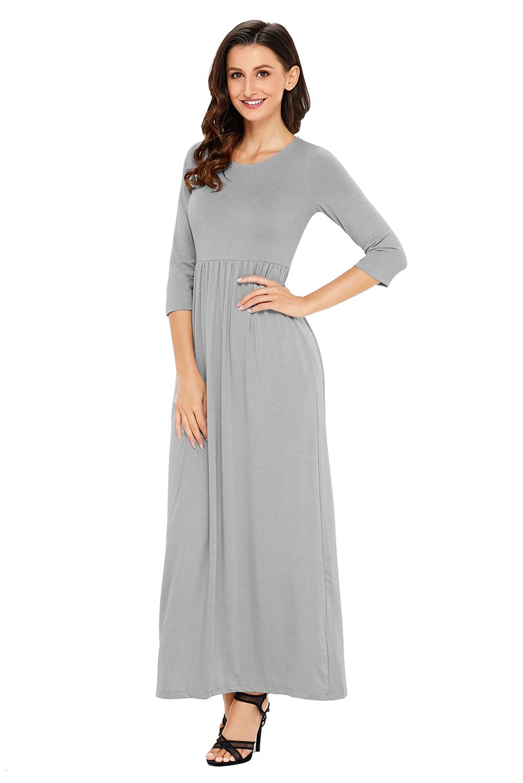 Pocket Design Long Sleeve Maxi Dress