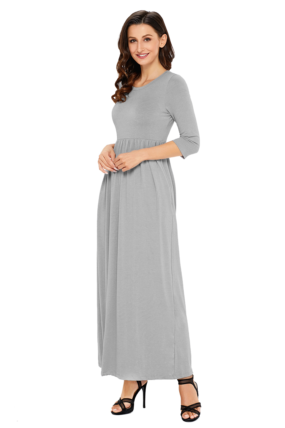 Long Sleeve Empire Waist Maxi Dress