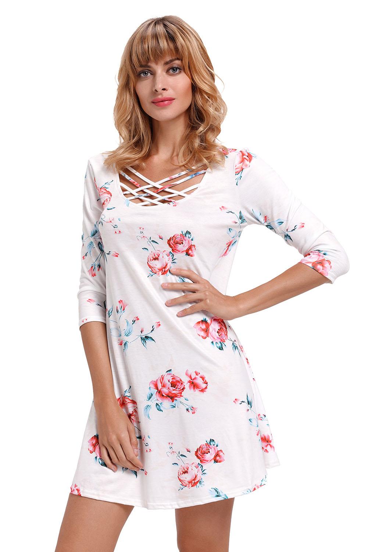 558c8cfaa149d Robe été t-shirt à imprimé fleuri bleu marine femme   eBay