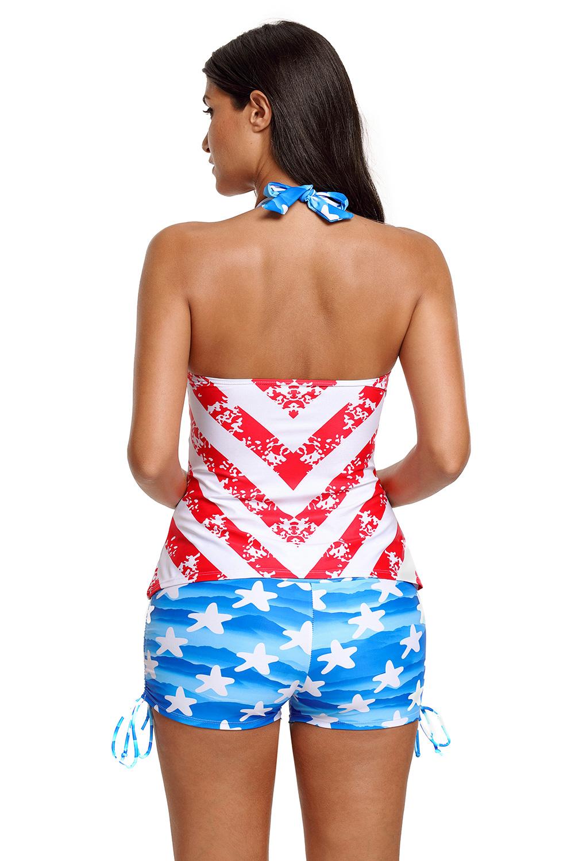 Patriot amerikanischer flagge muster neckholder tankini badeanzug damen