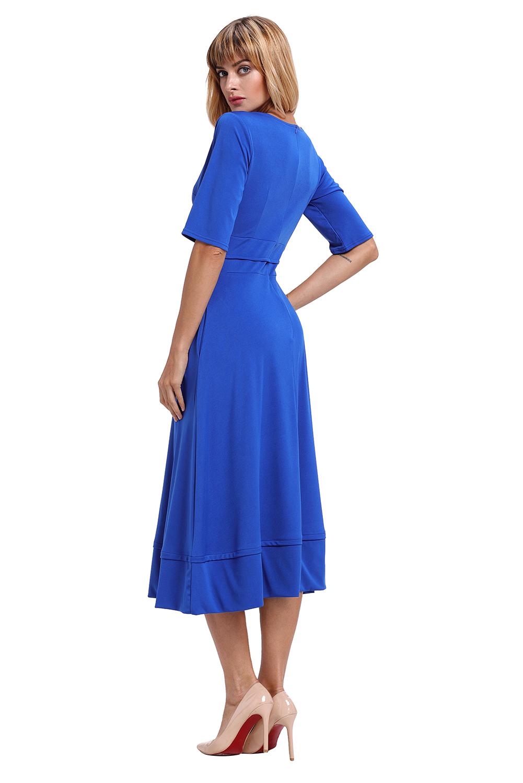 Blaues halbarm v-ausschnitt mit hoher taille ausgestelltes ...