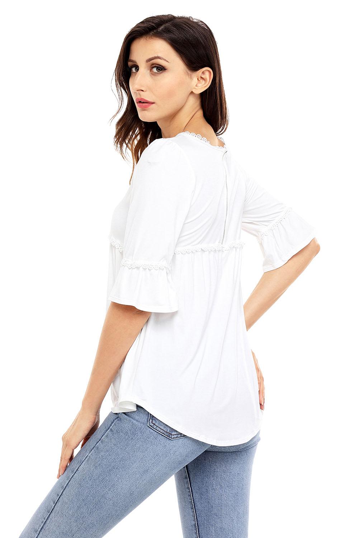 459f00c2d50 Babydoll long tunic top womens shirt zipper brief solid o-neck half ...