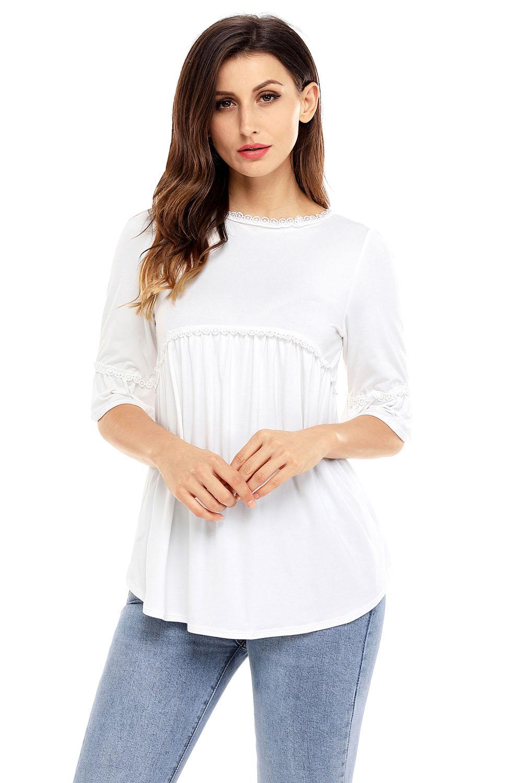 Babydoll long tunic top womens shirt zipper brief solid o-neck half ... 11ef6de30e5b