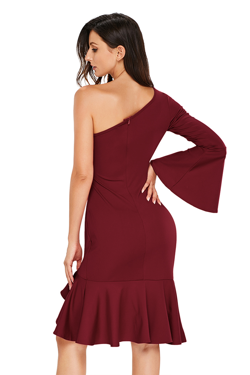 4ed34222a7 Twist and ruffle accent one shoulder prom dress long sleeve party ...