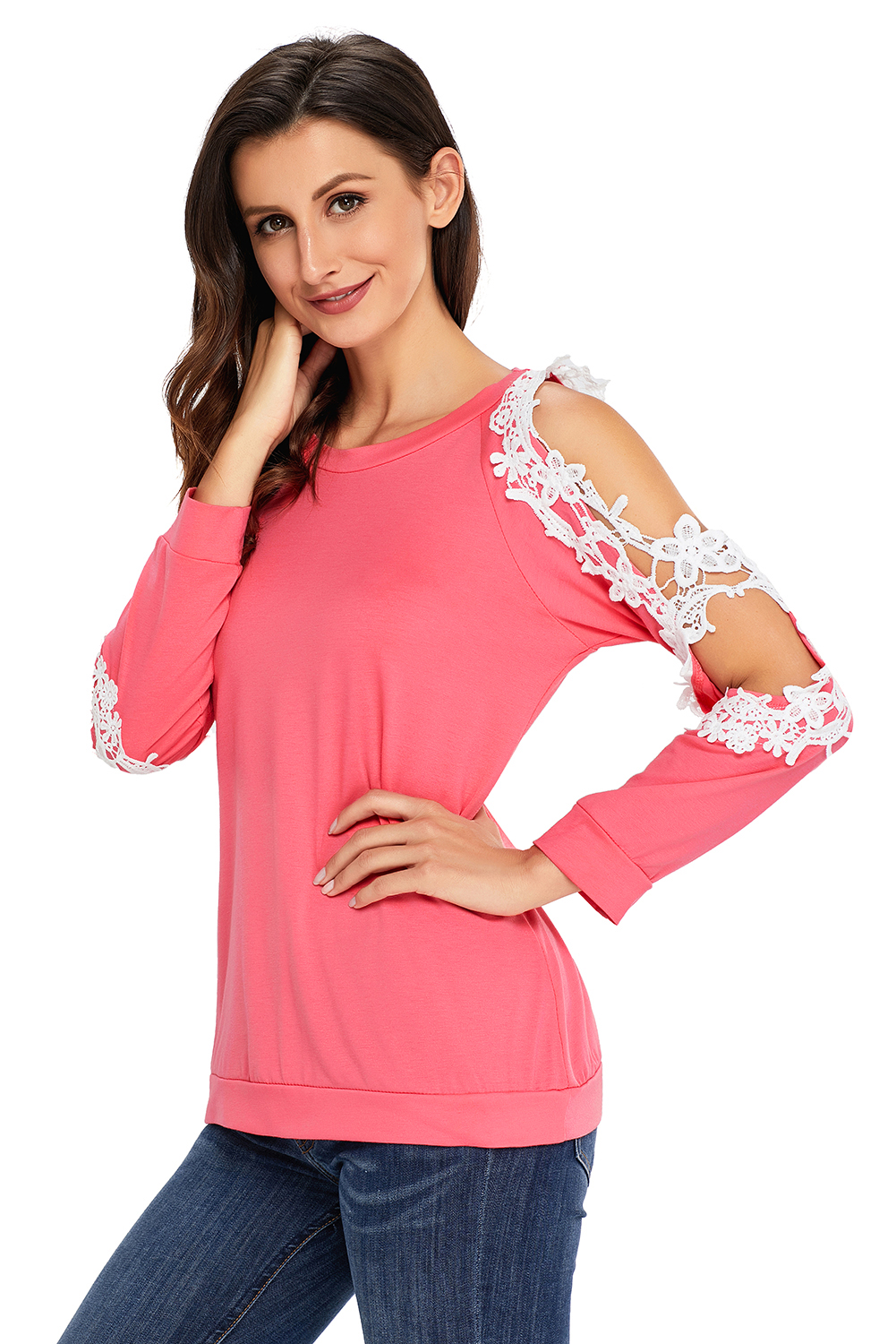 Lace trim cold shoulder long sleeve top womens shirt ...