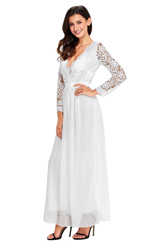 b82045a968f4 Open back long sleeve crochet maxi party dress backless evening ...