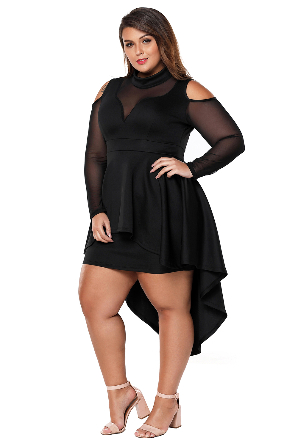 2bef3045896a Plus size mesh trim hi-lo peplum bodycon dress high low long sleeve ...