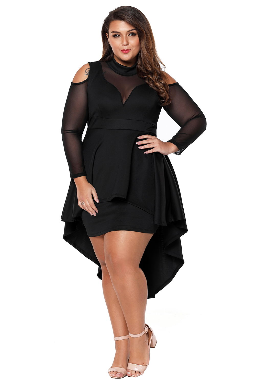 Details about Plus size mesh trim hi-lo peplum bodycon dress high low long  sleeve formal prom