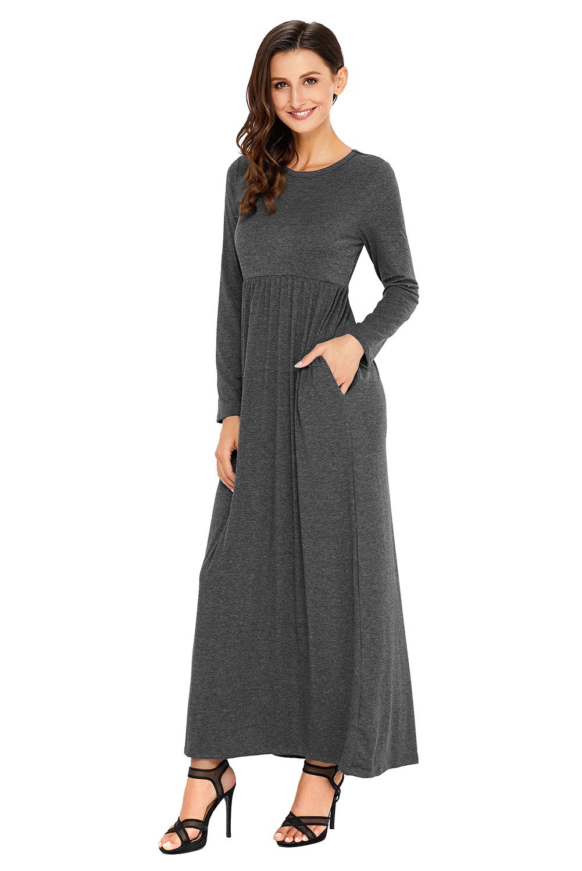 Olive langarm maxi jersey kleid mit hoher taille damen | eBay
