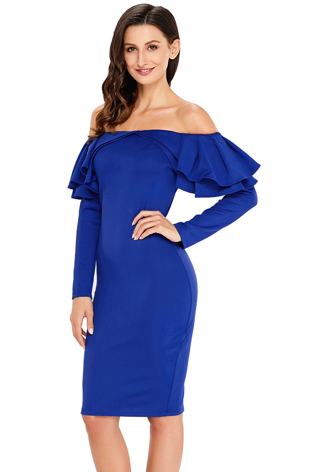 7ee10d25c8ff Ruffle off the shoulder long sleeve bodycon dress party ceremony ...