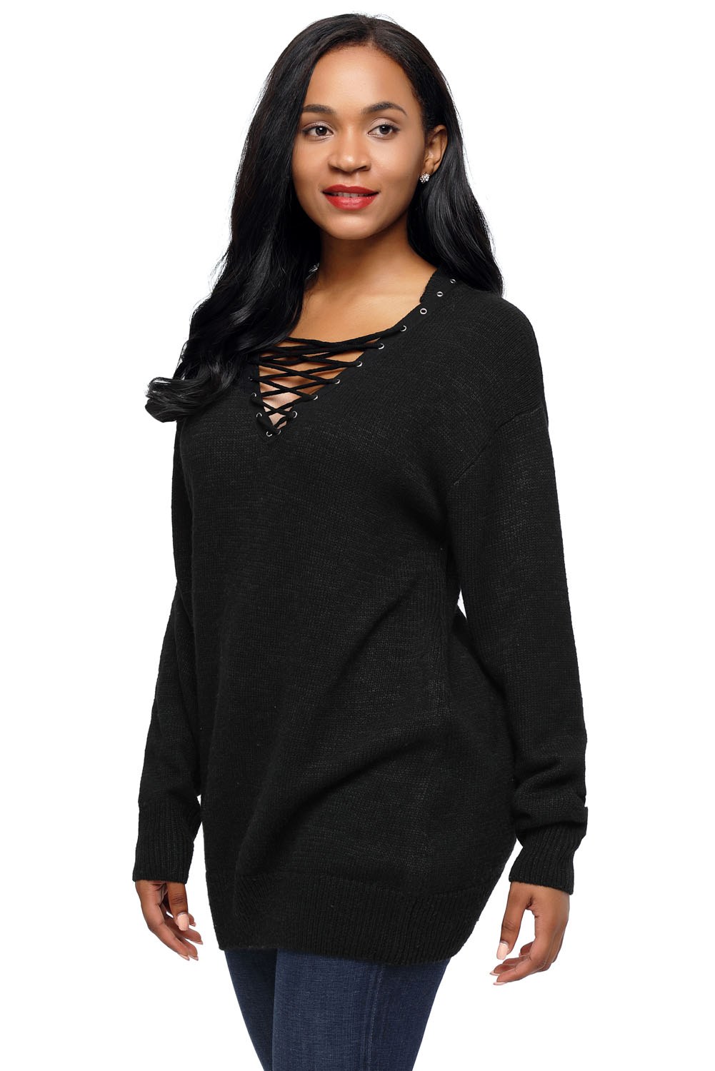chic long sleeve sweater with lace up neckline womens jumper ... 31b577fc1