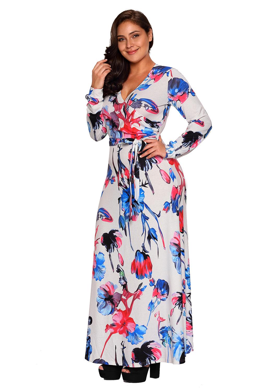 f3ee20b83ed Floral print sash tie plus size maxi dress long sleeve stage dance ...